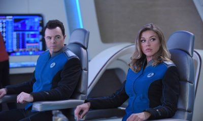"THE ORVILLE: L-R: Seth McFarlane and Adrianne Palicki in the ""Majority Rule"" episode of THE ORVILLE airing Thursday, Oct. 26 (9:01-10:00 PM ET/PT) on FOX. ©2017 Fox Broadcasting Co. Cr: Ray Mickshaw/FOX"