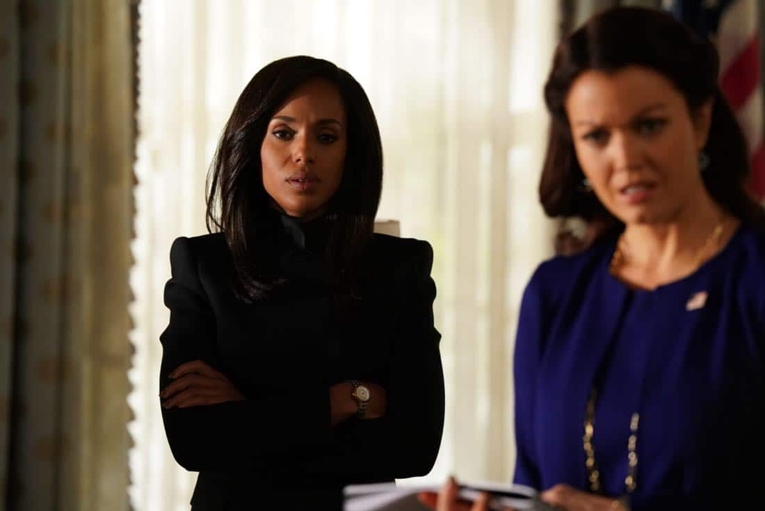 "SCANDAL - ""Adventures in Babysitting"" - Olivia and Mellie assert their power like never before; meanwhile, Cyrus is working on congressional approval to declare war in Bashran, and QPA is keeping close watch on President Rashad's niece, on ""Scandal,"" airing THURSDAY, NOV. 2 (9:00-10:00 p.m. EDT), on The ABC Television Network. (ABC/Mitch Haaseth) KERRY WASHINGTON, BELLAMY YOUNG"