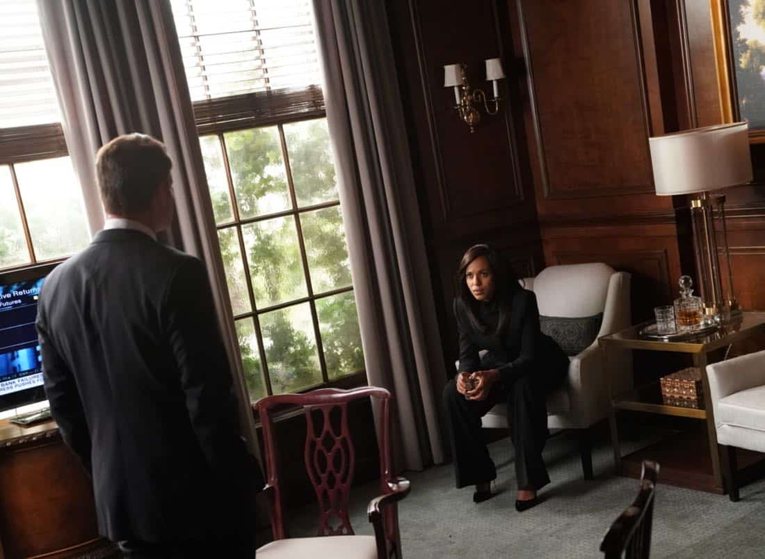 "SCANDAL - ""Adventures in Babysitting"" - Olivia and Mellie assert their power like never before; meanwhile, Cyrus is working on congressional approval to declare war in Bashran, and QPA is keeping close watch on President Rashad's niece, on ""Scandal,"" airing THURSDAY, NOV. 2 (9:00-10:00 p.m. EDT), on The ABC Television Network. (ABC/Mitch Haaseth) SCOTT FOLEY, KERRY WASHINGTON"