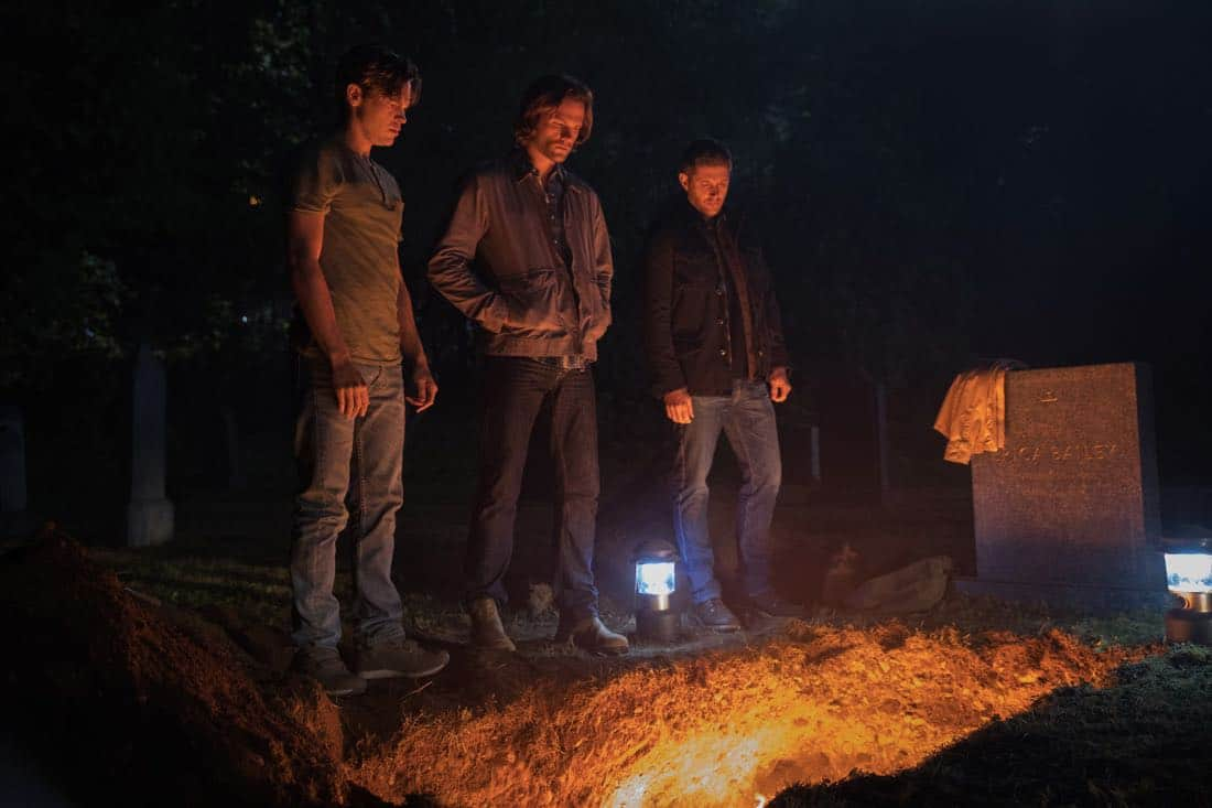 "Supernatural -- ""The Big Empty"" -- Image Number: SN1304a_0230ra.jpg -- Pictured (L-R): Alexander Calvert as Jack, Jared Padalecki as Sam and Jensen Ackles as Dean -- Photo: Jack Rowand/The CW -- © 2017 The CW Network, LLC All Rights Reserved."
