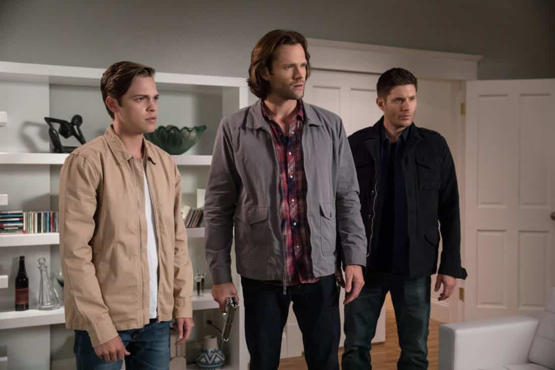"Supernatural -- ""The Big Empty"" -- Image Number: SN1304b_0462b.jpg -- Pictured (L-R): Alexander Calvert as Jack, Jared Padalecki as Sam and Jensen Ackles as Dean -- Photo: Jack Rowand/The CW -- © 2017 The CW Network, LLC All Rights Reserved."