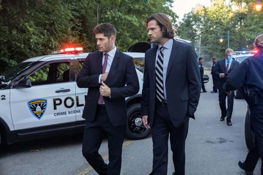 "Supernatural -- ""The Big Empty"" -- Image Number: SN1304a_0057b.jpg -- Pictured (L-R): Jensen Ackles as Dean and Jared Padalecki as Sam -- Photo: Jack Rowand/The CW -- © 2017 The CW Network, LLC All Rights Reserved."
