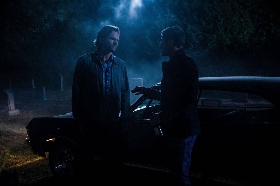 "Supernatural -- ""The Big Empty"" -- Image Number: SN1304a_0128b.jpg -- Pictured (L-R): Jared Padalecki as Sam and Jensen Ackles as Dean -- Photo: Jack Rowand/The CW -- © 2017 The CW Network, LLC All Rights Reserved."