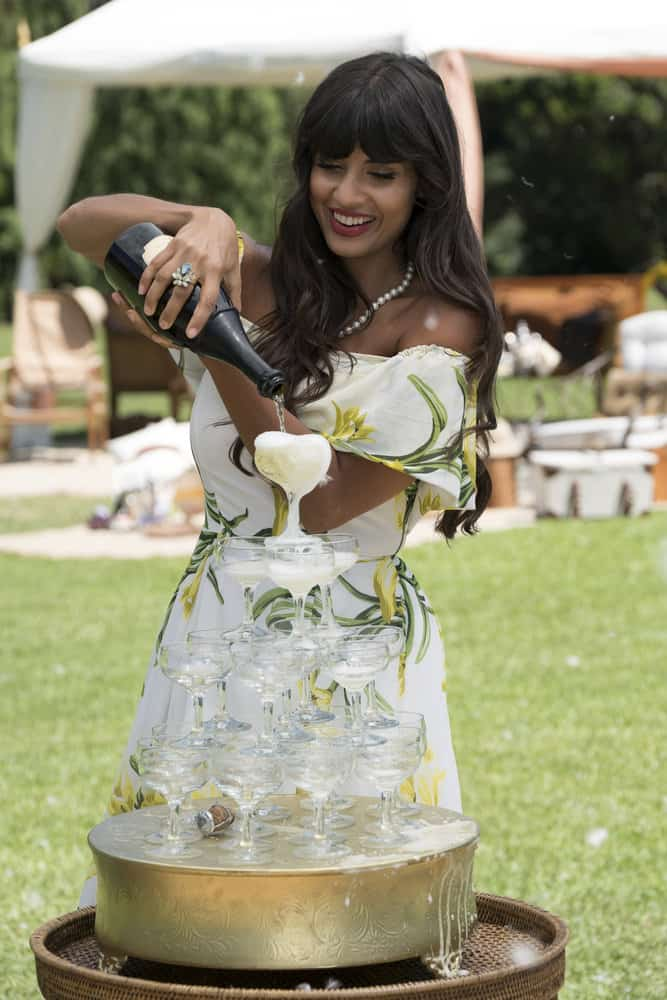 """THE GOOD PLACE -- """"Derek"""" Episode 208 -- Pictured: Jameela Jamil as Tehani -- (Photo by: Colleen Hayes/NBC)"""