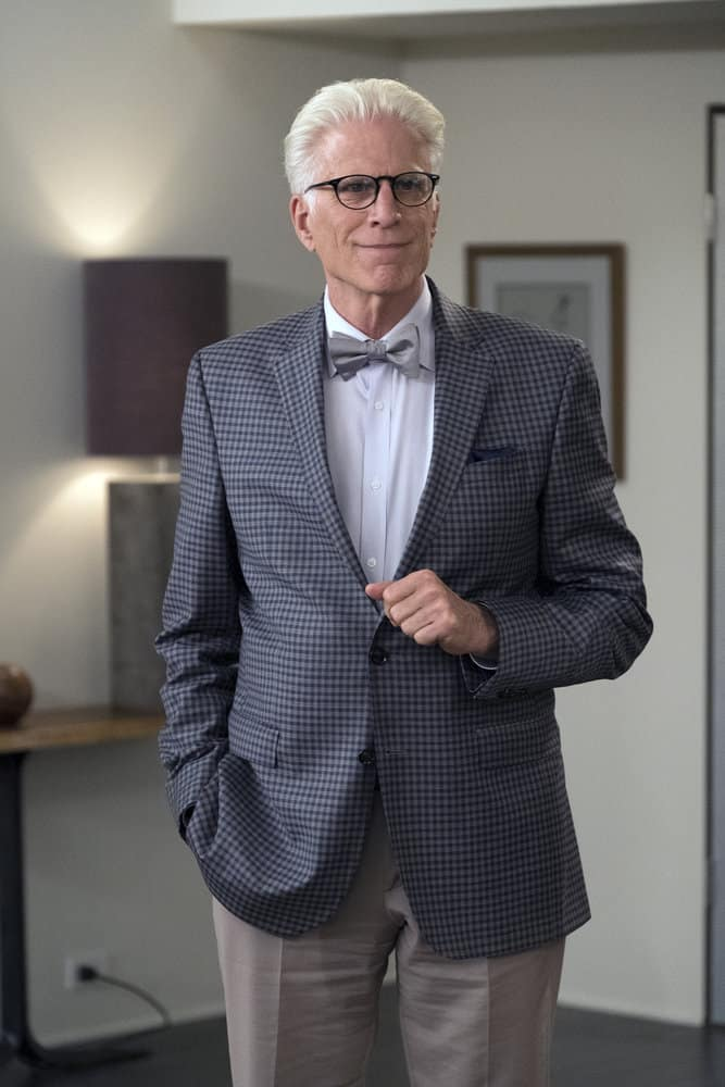 """THE GOOD PLACE -- """"Derek"""" Episode 208 -- Pictured: Ted Danson as Michael -- (Photo by: Colleen Hayes/NBC)"""