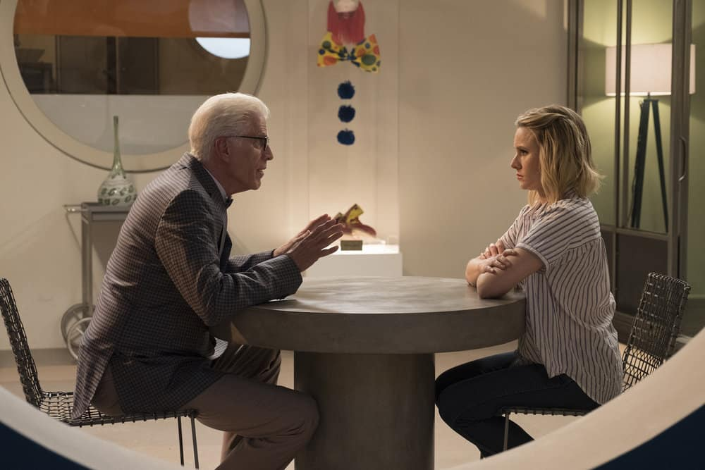 """THE GOOD PLACE -- """"Derek"""" Episode 208 -- Pictured: (l-r) Ted Danson as Michael, Kristen Bell as Eleanor -- (Photo by: Colleen Hayes/NBC)"""
