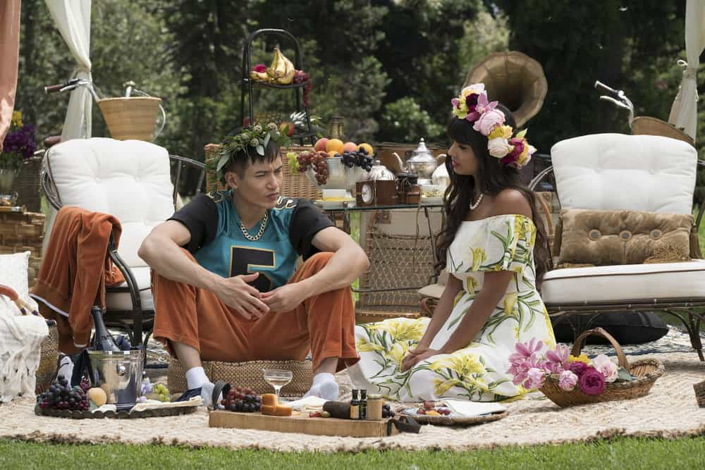 """THE GOOD PLACE -- """"Derek"""" Episode 208 -- Pictured: (l-r) Manny Jacinto as Jianyu, Jameela Jamil as Tehani -- (Photo by: Colleen Hayes/NBC)"""