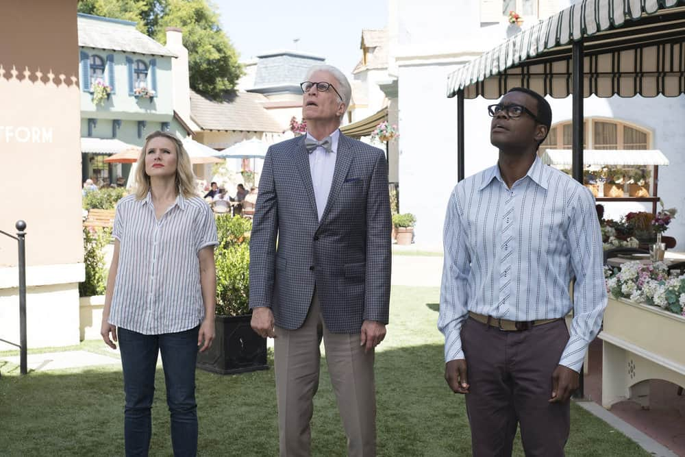 """THE GOOD PLACE -- """"Derek"""" Episode 208 -- Pictured: (l-r) Kristen Bell as Eleanor, Ted Danson as Michael, William Jackson Harper as Chidi -- (Photo by: Colleen Hayes/NBC)"""