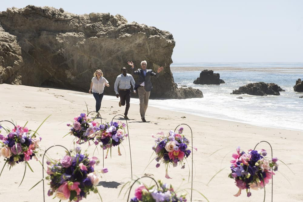 """THE GOOD PLACE -- """"Derek"""" Episode 208 -- Pictured: (l-r) Kristen Bell as Eleanor, William Jackson Harper as Chidi, Ted Danson as Michael -- (Photo by: Colleen Hayes/NBC)"""
