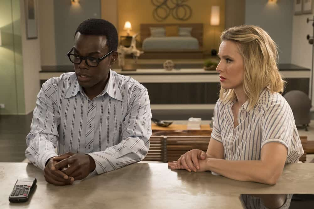"""THE GOOD PLACE -- """"Derek"""" Episode 208 -- Pictured: (l-r) William Jackson Harper as Chidi, Kristen Bell as Eleanor -- (Photo by: Colleen Hayes/NBC)"""