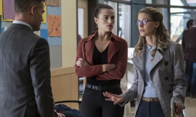 "Supergirl -- ""Damage"" -- SPG305b_0160.jpg -- Pictured (L-R): Adrian Pasdar as Morgan Edge, Katie McGrath as Lena Luthor, and Melissa Benoist as Kara -- Photo: Jeff Weddell/The CW -- © 2017 The CW Network, LLC. All Rights Reserved"