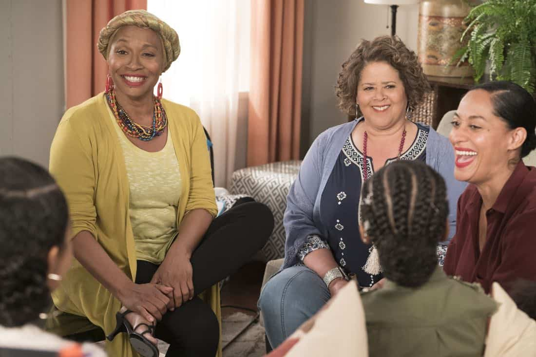 "BLACK-ISH - ""First and Last"" - Diane experiences a big life event toward becoming a woman and Bow, Ruby, Zoey and Alicia are there to support her. Meanwhile, afraid that he may never be able to beat Junior at basketball again, Dre conducts psychological warfare on Junior before challenging him to a game, on ""black-ish,"" TUESDAY, NOV. 7 (9:00-9:30 p.m. EST), on The ABC Television Network. (ABC/Eric McCandless) JENIFER LEWIS, ANNA DEAVERE SMITH, TRACEE ELLIS ROSS"