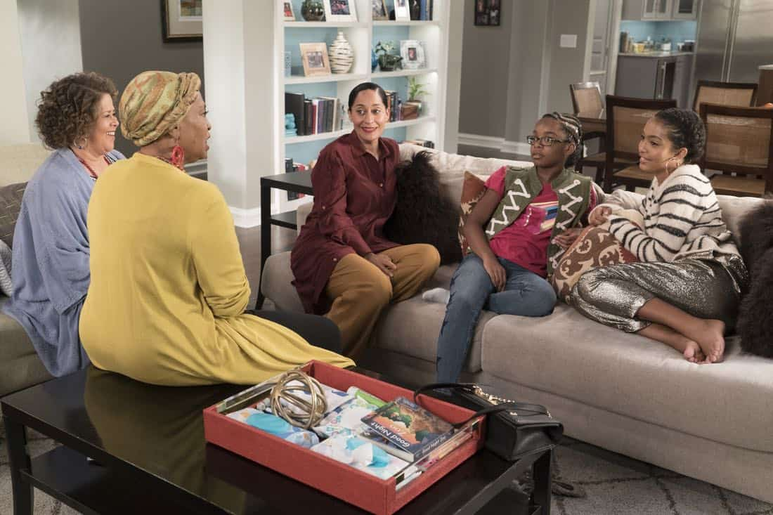"BLACK-ISH - ""First and Last"" - Diane experiences a big life event toward becoming a woman and Bow, Ruby, Zoey and Alicia are there to support her. Meanwhile, afraid that he may never be able to beat Junior at basketball again, Dre conducts psychological warfare on Junior before challenging him to a game, on ""black-ish,"" TUESDAY, NOV. 7 (9:00-9:30 p.m. EST), on The ABC Television Network. (ABC/Eric McCandless) ANNA DEAVERE SMITH, JENIFER LEWIS, TRACEE ELLIS ROSS, MARSAI MARTIN, YARA SHAHIDI"