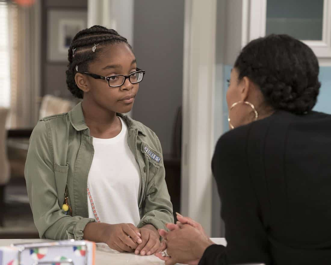 "BLACK-ISH - ""First and Last"" - Diane experiences a big life event toward becoming a woman and Bow, Ruby, Zoey and Alicia are there to support her. Meanwhile, afraid that he may never be able to beat Junior at basketball again, Dre conducts psychological warfare on Junior before challenging him to a game, on ""black-ish,"" TUESDAY, NOV. 7 (9:00-9:30 p.m. EST), on The ABC Television Network. (ABC/Eric McCandless) MARSAI MARTIN, TRACEE ELLIS ROSS"