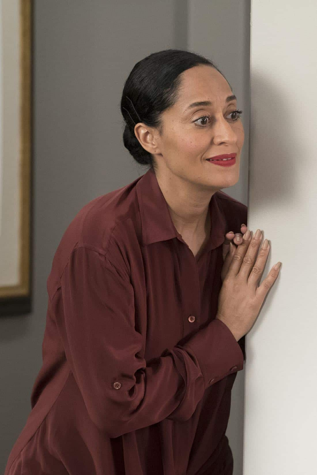 "BLACK-ISH - ""First and Last"" - Diane experiences a big life event toward becoming a woman and Bow, Ruby, Zoey and Alicia are there to support her. Meanwhile, afraid that he may never be able to beat Junior at basketball again, Dre conducts psychological warfare on Junior before challenging him to a game, on ""black-ish,"" TUESDAY, NOV. 7 (9:00-9:30 p.m. EST), on The ABC Television Network. (ABC/Eric McCandless) TRACEE ELLIS ROSS"