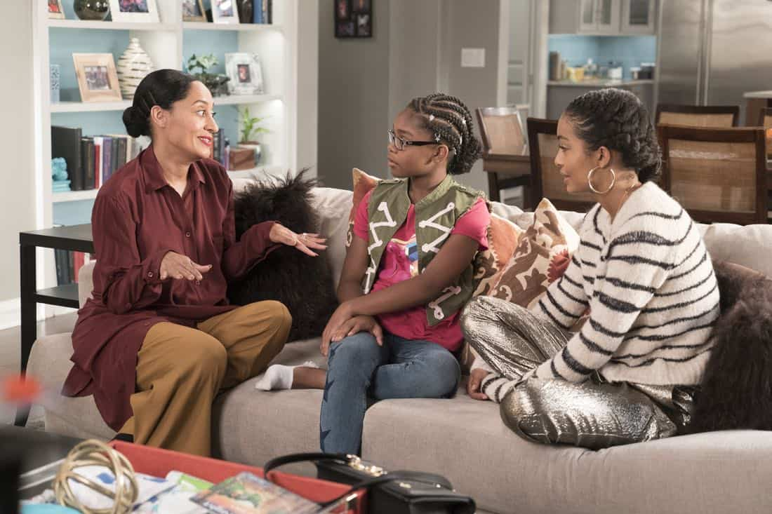 "BLACK-ISH - ""First and Last"" - Diane experiences a big life event toward becoming a woman and Bow, Ruby, Zoey and Alicia are there to support her. Meanwhile, afraid that he may never be able to beat Junior at basketball again, Dre conducts psychological warfare on Junior before challenging him to a game, on ""black-ish,"" TUESDAY, NOV. 7 (9:00-9:30 p.m. EST), on The ABC Television Network. (ABC/Eric McCandless) TRACEE ELLIS ROSS, MARSAI MARTIN, YARA SHAHIDI"