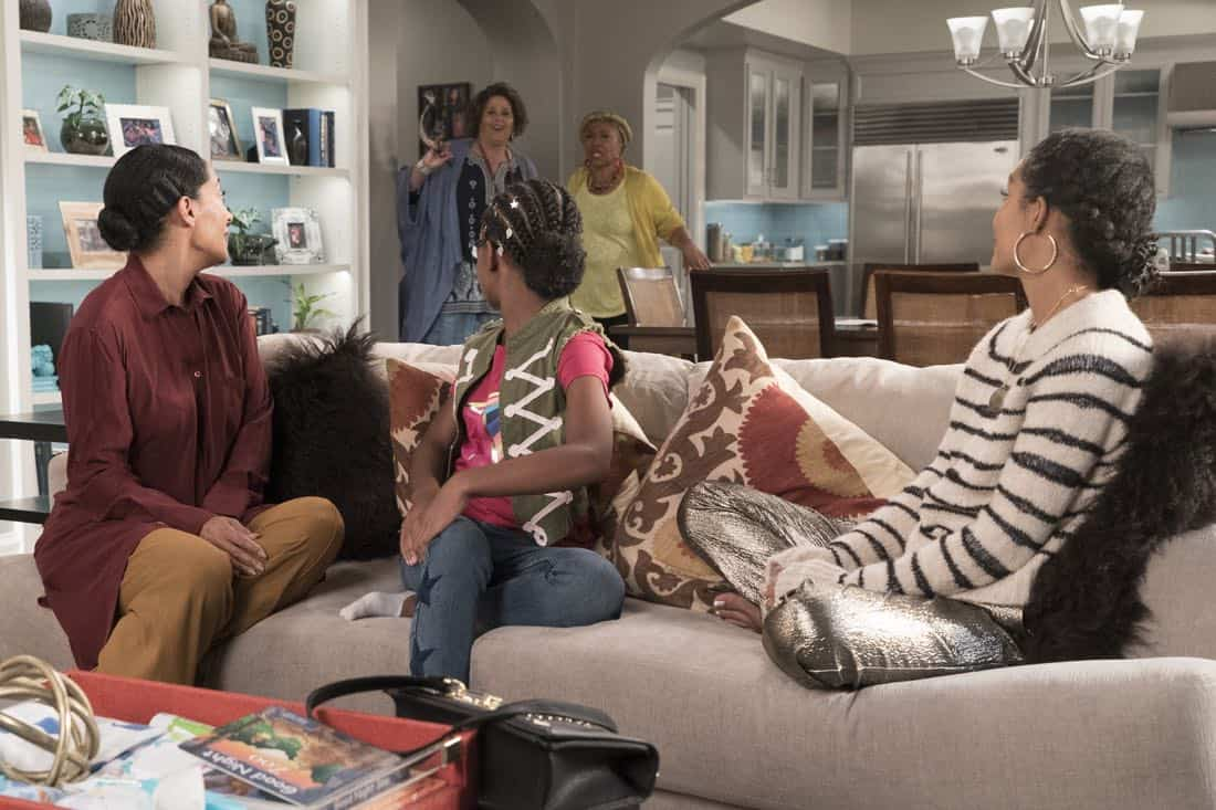 "BLACK-ISH - ""First and Last"" - Diane experiences a big life event toward becoming a woman and Bow, Ruby, Zoey and Alicia are there to support her. Meanwhile, afraid that he may never be able to beat Junior at basketball again, Dre conducts psychological warfare on Junior before challenging him to a game, on ""black-ish,"" TUESDAY, NOV. 7 (9:00-9:30 p.m. EST), on The ABC Television Network. (ABC/Eric McCandless) TRACEE ELLIS ROSS, ANNA DEAVERE SMITH, MARSAI MARTIN, JENIFER LEWIS, YARA SHAHIDI"