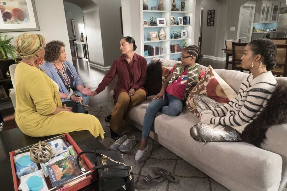 "BLACK-ISH - ""First and Last"" - Diane experiences a big life event toward becoming a woman and Bow, Ruby, Zoey and Alicia are there to support her. Meanwhile, afraid that he may never be able to beat Junior at basketball again, Dre conducts psychological warfare on Junior before challenging him to a game, on ""black-ish,"" TUESDAY, NOV. 7 (9:00-9:30 p.m. EST), on The ABC Television Network. (ABC/Eric McCandless) JENIFER LEWIS, ANNA DEAVERE SMITH, TRACEE ELLIS ROSS, MARSAI MARTIN, YARA SHAHIDI"