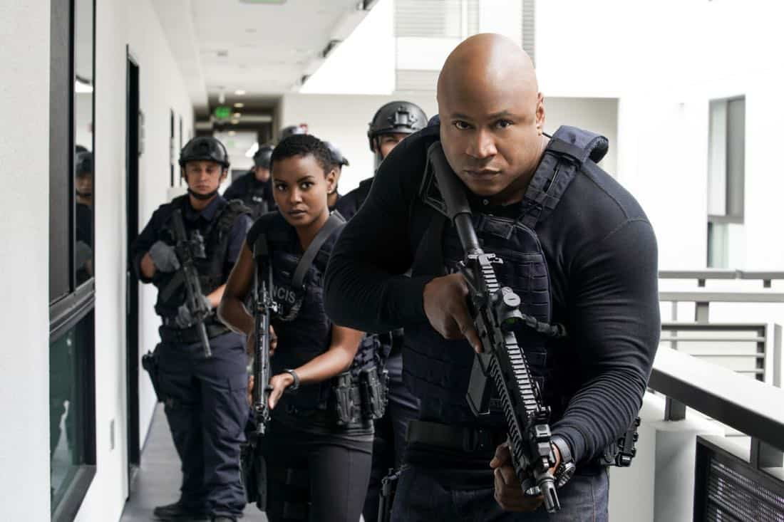 """The Silo"" – Pictured: Andrea Bordeaux (NCIS Special Agent Harley Hidoko) and LL COOL J (Special Agent Sam Hanna). After an Air Force captain Kensi dated a decade ago breaches a missile launch facility, she is transported to the location to help thwart the use of nuclear weapons, on NCIS: LOS ANGELES, Sunday, Nov. 12 (9:00-10:00 PM, ET/PT) on the CBS Television Network. Photo: Erik Voake/CBS ©2017 CBS Broadcasting, Inc. All Rights Reserved."