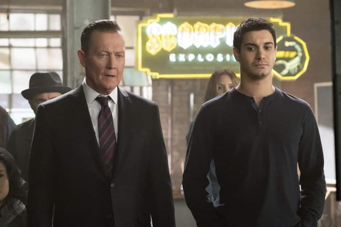 """Go With the Flo(rence)"" --While tracking a device that can prevent a nuclear meltdown through the Los Angeles sewers, Walter learns the nuances of listening and not offering advice to Paige. Also, Team Scorpion meets Florence (guest star Tina Majorino), their new neighbor at the garage, after she sends a mix of smelly chemicals through their shared ventilation as a warning to keep the noise down, on SCORPION, Monday, Nov. 6 (10:00-11:00 PM, ET/PT) on the CBS Television Network. Pictured:   Robert Patrick, Elyes Gabel.    Photo: Jessica Brooks/CBS ©2017 CBS Broadcasting, Inc. All Rights Reserved"