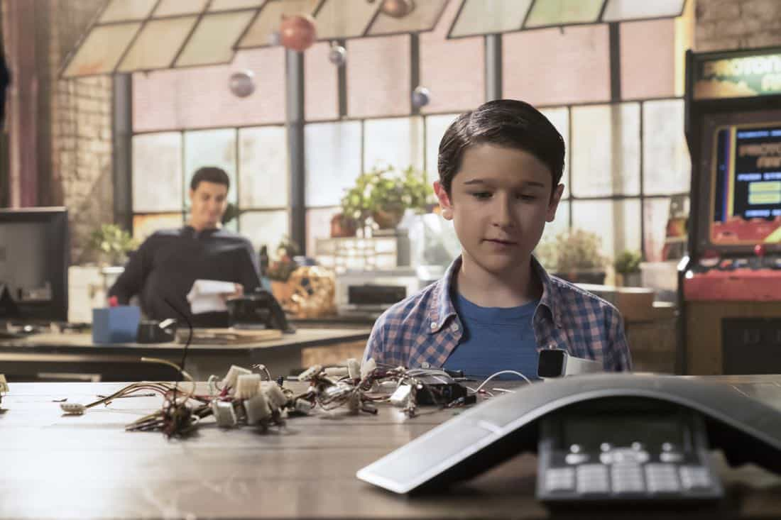 """""""Go With the Flo(rence)"""" --While tracking a device that can prevent a nuclear meltdown through the Los Angeles sewers, Walter learns the nuances of listening and not offering advice to Paige. Also, Team Scorpion meets Florence (guest star Tina Majorino), their new neighbor at the garage, after she sends a mix of smelly chemicals through their shared ventilation as a warning to keep the noise down, on SCORPION, Monday, Nov. 6 (10:00-11:00 PM, ET/PT) on the CBS Television Network. Pictured:   Elyes Gabel, Riley B. Smith.   Photo: Jessica Brooks/CBS ©2017 CBS Broadcasting, Inc. All Rights Reserved"""