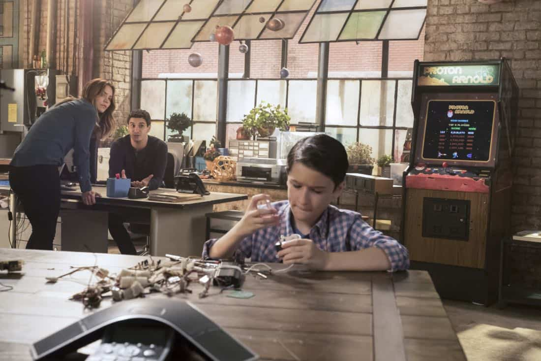 """Go With the Flo(rence)"" --While tracking a device that can prevent a nuclear meltdown through the Los Angeles sewers, Walter learns the nuances of listening and not offering advice to Paige. Also, Team Scorpion meets Florence (guest star Tina Majorino), their new neighbor at the garage, after she sends a mix of smelly chemicals through their shared ventilation as a warning to keep the noise down, on SCORPION, Monday, Nov. 6 (10:00-11:00 PM, ET/PT) on the CBS Television Network. Pictured:   Katharine McPhee,  Elyes Gabel, Riley B. Smith.   Photo: Jessica Brooks/CBS ©2017 CBS Broadcasting, Inc. All Rights Reserved"