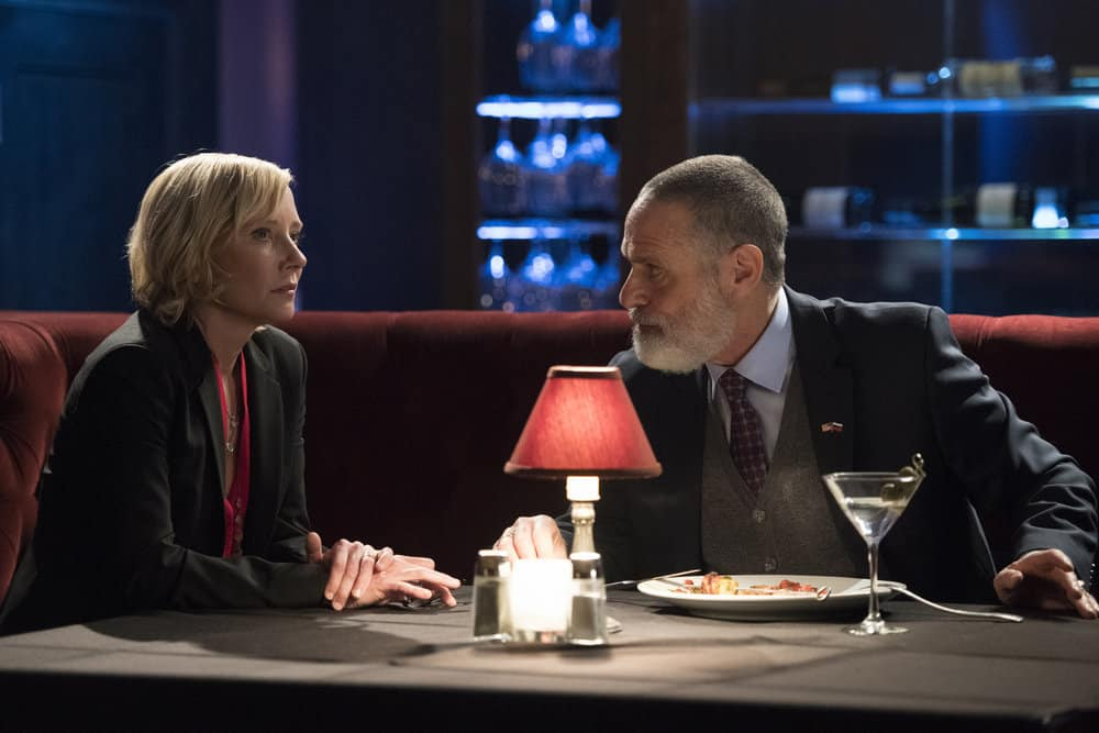 "THE BRAVE -- ""Stealth"" Episode 108 -- Pictured: (l-r) Anne Heche as Patricia Campbell, Joel Swetow as Ambassador Dmitri Gromyko -- (Photo by: Lewis Jacobs/NBC)"