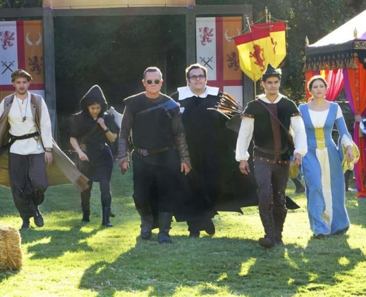 """""""Faire is Foul"""" -- For Sylvester's birthday, Team Scorpion visits a renaissance festival, but the revelry is cut short when a group tries to rob a nearby police evidence locker. Also, Paige grows weary of Walter's play-by-play of all the historical inaccuracies at the festival, on SCORPION, Monday, Nov. 13 (10:00-11:00 PM, ET/PT) on the CBS Television Network. Pictured: Eddie Kaye Thomas, Jadyn Wong, Robert Patrick, Ari Stidham, Elyes Gabel, Katharine McPhee. Photo: Bill Inoshita/CBS ©2017 CBS Broadcasting, Inc. All Rights Reserved"""