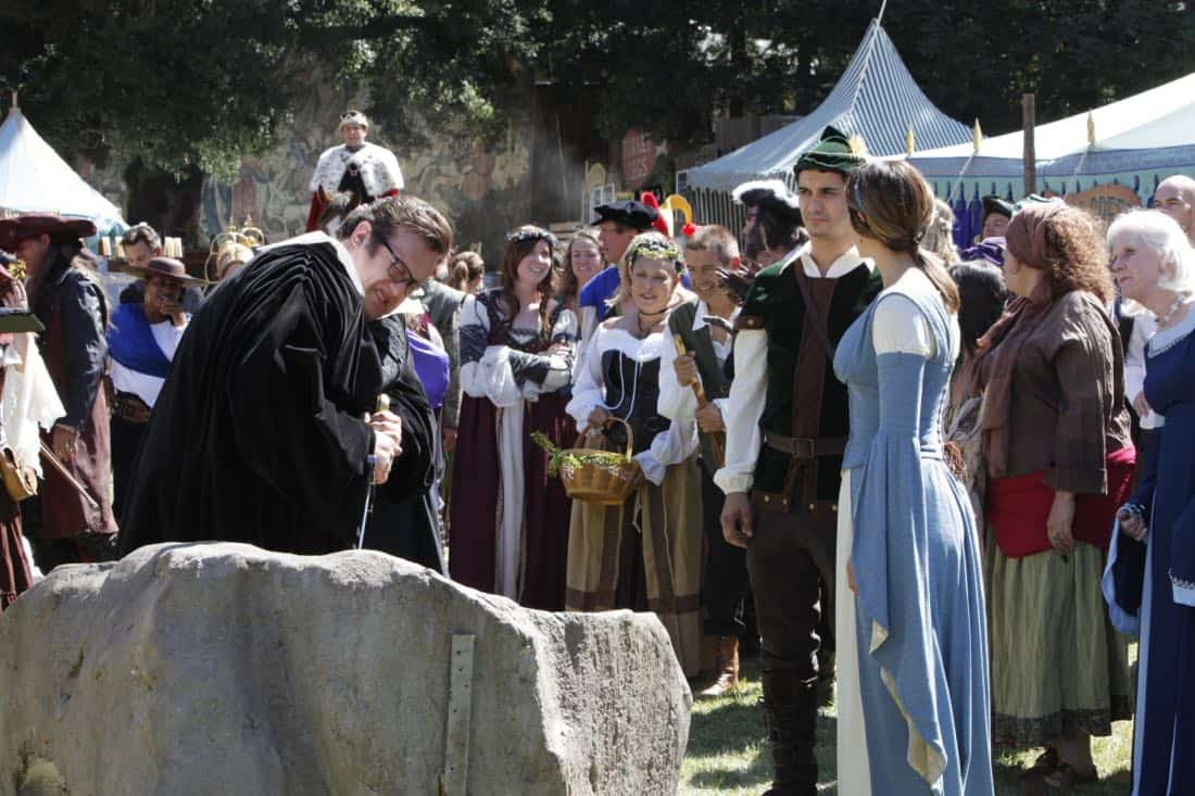 """Faire is Foul"" -- For Sylvester's birthday, Team Scorpion visits a renaissance festival, but the revelry is cut short when a group tries to rob a nearby police evidence locker. Also, Paige grows weary of Walter's play-by-play of all the historical inaccuracies at the festival, on SCORPION, Monday, Nov. 13 (10:00-11:00 PM, ET/PT) on the CBS Television Network. Pictured: Ari Stidham,  Elyes Gabel, Katharine McPhee.   Photo: Bill Inoshita/CBS ©2017 CBS Broadcasting, Inc. All Rights Reserved"