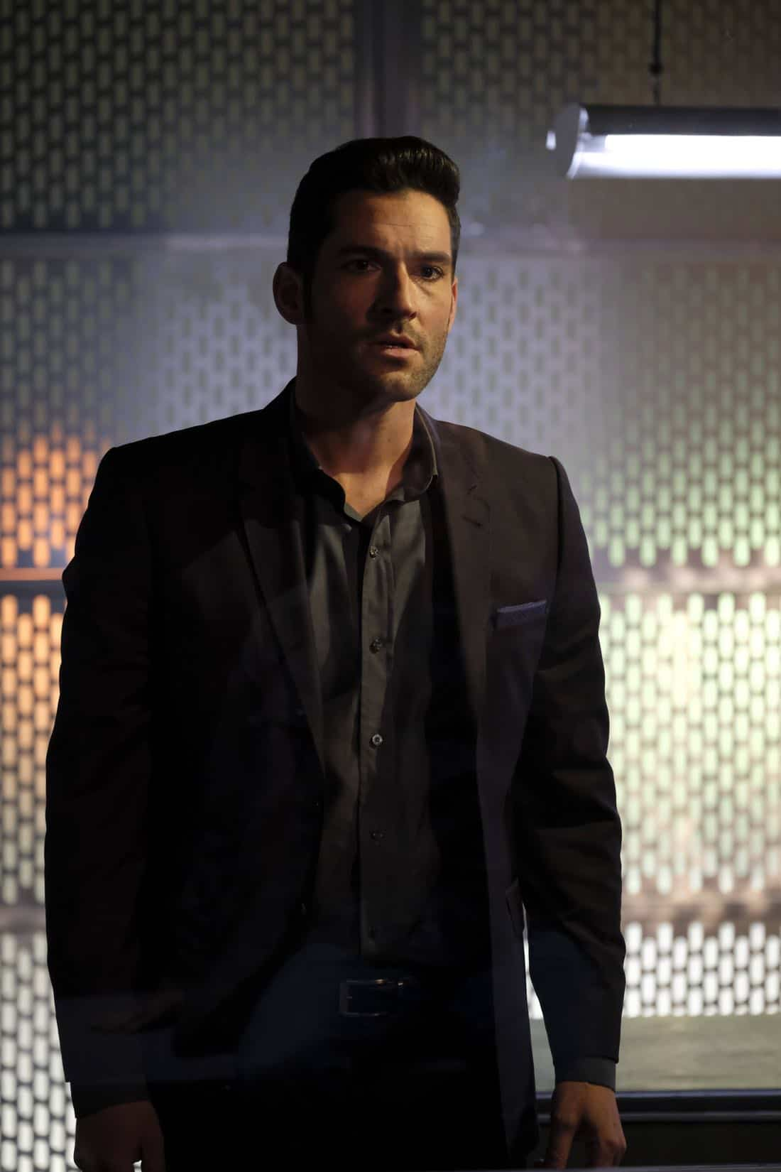 "LUCIFER: Tom Ellis in the ""Off The Record"" episode of LUCIFER airing Monday, Nov. 13 (8:00-9:00 PM ET/PT) on FOX. CR:  Michael Courtney/FOX"