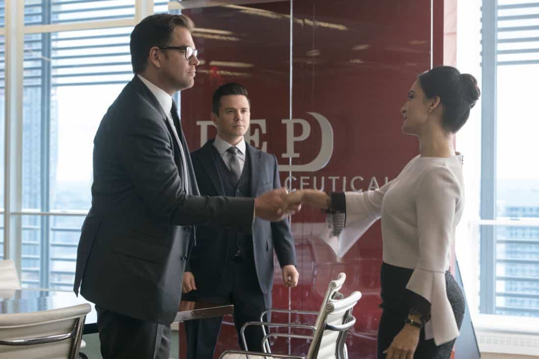 """The Devil, The Detail""-- Bull agrees to help the parents of a former employee sue a drug company when their son commits suicide during a drug trial. However, the task is complicated when the company brings in their own trial scientist, Arti Cander (Emmy Award winner Archie Panjabi),  on BULL, Tuesday, Nov 14 (9:00-10:00 PM, ET/PT) on the CBS Television Network. Pictured L-R: Michael Weatherly as Dr. Jason Bull, Freddy Rodriguez as Benny Colón, and Archie Punjabi as Arti Cander Photo: David Giesbrecht/CBS ©2017 CBS Broadcasting, Inc. All Rights Reserved"