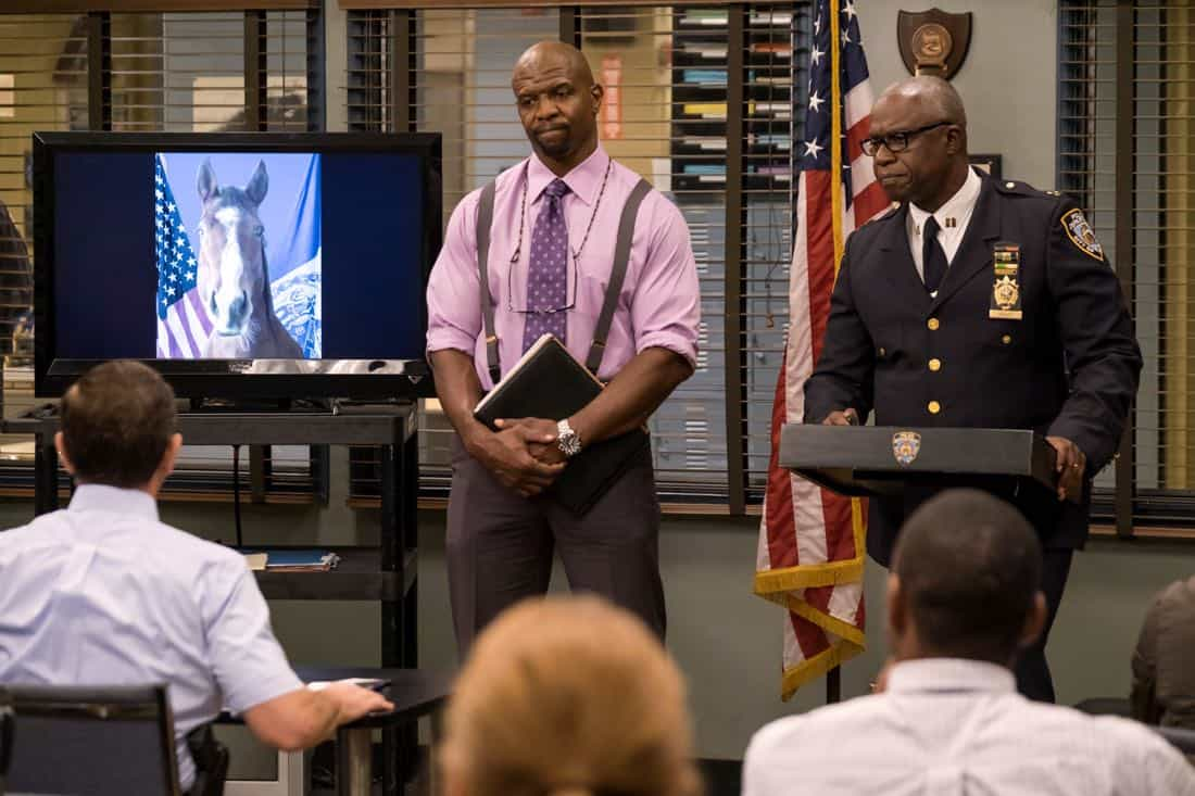 "BROOKLYN NINE-NINE: L-R: Terry Crews and Andre Braugher in the ""The Venue"" episode of BROOKLYN NINE-NINE airing Tuesday, Nov. 7 (9:30-10:00 PM ET/PT) on FOX. CR: John P. Fleenor/FOX"