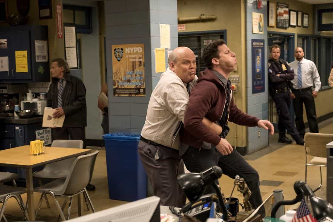 "BROOKLYN NINE-NINE: L-R: Dirk Blocker and Andy Samberg in the ""The Venue"" episode of BROOKLYN NINE-NINE airing Tuesday, Nov. 7 (9:30-10:00 PM ET/PT) on FOX. CR: John P. Fleenor/FOX"