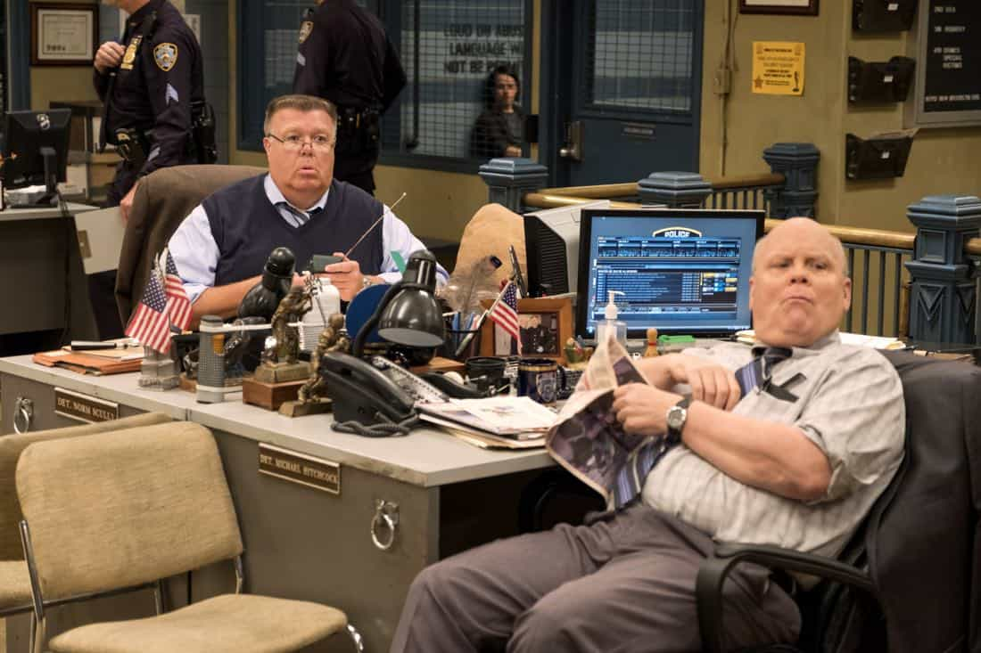 "BROOKLYN NINE-NINE: L-R: Joel McKinnon Miller and Dirk Blocker in the ""The Venue"" episode of BROOKLYN NINE-NINE airing Tuesday, Nov. 7 (9:30-10:00 PM ET/PT) on FOX. CR: John P. Fleenor/FOX"