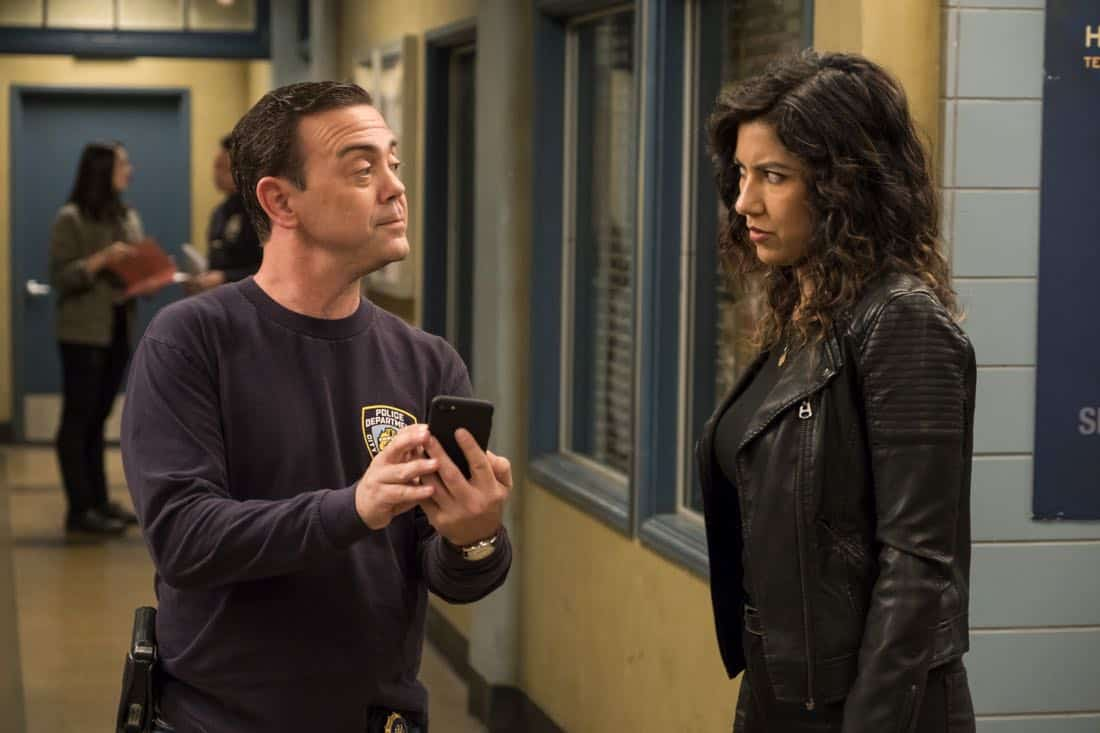 "BROOKLYN NINE-NINE: L-R: Joe Lo Truglio and Stephanie Beatriz in the ""The Venue"" episode of BROOKLYN NINE-NINE airing Tuesday, Nov. 7 (9:30-10:00 PM ET/PT) on FOX. CR: John P. Fleenor/FOX"