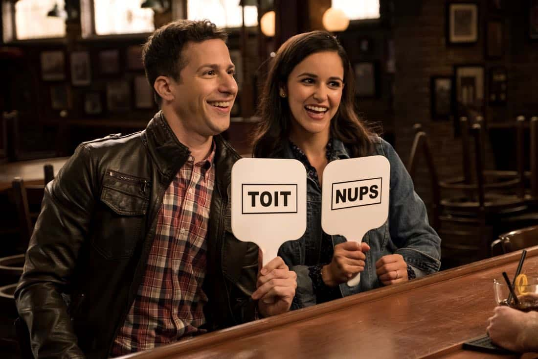 "BROOKLYN NINE-NINE: L-R: Melissa Fumero and Andy Samberg in the ""The Venue"" episode of BROOKLYN NINE-NINE airing Tuesday, Nov. 7 (9:30-10:00 PM ET/PT) on FOX. CR: John P. Fleenor/FOX"