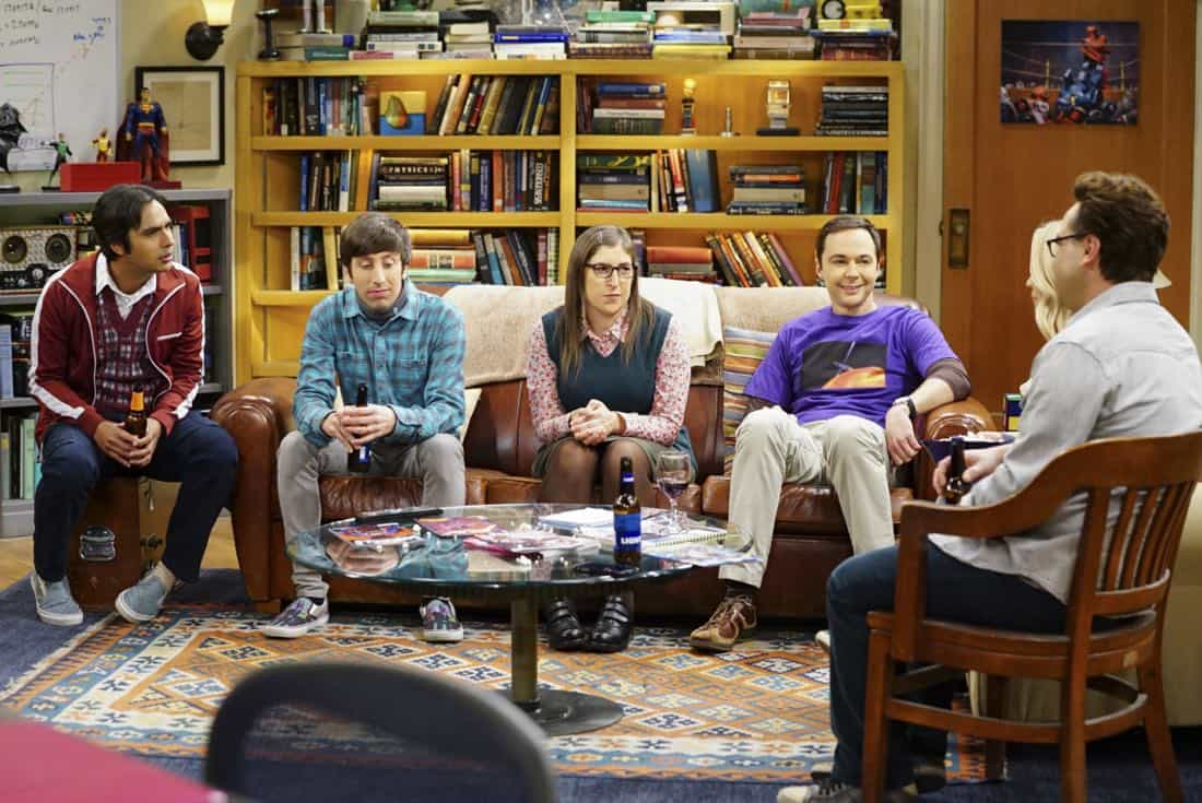 """The Tesla Recoil"" -- Pictured: Rajesh Koothrappali (Kunal Nayyar), Howard Wolowitz (Simon Helberg), Amy Farrah Fowler (Mayim Bialik) and Sheldon Cooper (Jim Parsons). Leonard and Wolowitz are furious after they learn Sheldon went to work with the military behind their backs. Also, while Bernadette is on bed rest, she asks Raj to do some digging when she suspects Ruchi is trying to steal her job, on THE BIG BANG THEORY, Thursday, Nov. 16 (8:00-8:31 PM, ET/PT) on the CBS Television Network. Photo: Sonja Flemming/CBS ©2017 CBS Broadcasting, Inc. All Rights Reserved."