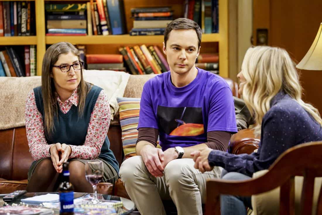 """The Tesla Recoil"" -- Pictured: Amy Farrah Fowler (Mayim Bialik) and Sheldon Cooper (Jim Parsons). Leonard and Wolowitz are furious after they learn Sheldon went to work with the military behind their backs. Also, while Bernadette is on bed rest, she asks Raj to do some digging when she suspects Ruchi is trying to steal her job, on THE BIG BANG THEORY, Thursday, Nov. 16 (8:00-8:31 PM, ET/PT) on the CBS Television Network. Photo: Sonja Flemming/CBS ©2017 CBS Broadcasting, Inc. All Rights Reserved."