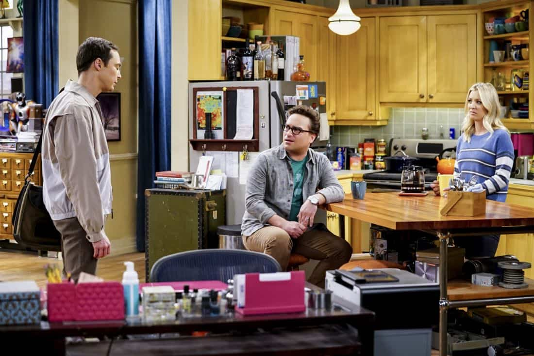 """The Tesla Recoil"" -- Pictured: Sheldon Cooper (Jim Parsons), Leonard Hofstadter (Johnny Galecki) and Penny (Kaley Cuoco). Leonard and Wolowitz are furious after they learn Sheldon went to work with the military behind their backs. Also, while Bernadette is on bed rest, she asks Raj to do some digging when she suspects Ruchi is trying to steal her job, on THE BIG BANG THEORY, Thursday, Nov. 16 (8:00-8:31 PM, ET/PT) on the CBS Television Network. Photo: Sonja Flemming/CBS ©2017 CBS Broadcasting, Inc. All Rights Reserved."
