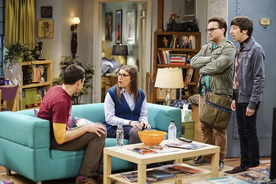 """The Tesla Recoil"" -- Pictured: Sheldon Cooper (Jim Parsons), Amy Farrah Fowler (Mayim Bialik), Leonard Hofstadter (Johnny Galecki) and Howard Wolowitz (Simon Helberg). Leonard and Wolowitz are furious after they learn Sheldon went to work with the military behind their backs. Also, while Bernadette is on bed rest, she asks Raj to do some digging when she suspects Ruchi is trying to steal her job, on THE BIG BANG THEORY, Thursday, Nov. 16 (8:00-8:31 PM, ET/PT) on the CBS Television Network. Photo: Sonja Flemming/CBS ©2017 CBS Broadcasting, Inc. All Rights Reserved."