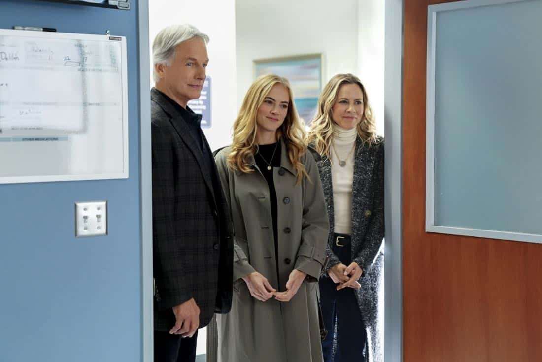 """Ready or Not"" -- The team's Thanksgiving plans are put on hold while they track an elusive international arms dealer in D.C. who recently murdered an MI6 officer who was Sloane's close friend. Also, Abby races Delilah (Margo Harshman) to the hospital when her labor starts three weeks early, on NCIS, Tuesday, Nov. 21 (8:00-9:00 PM, ET/PT) on the CBS Television Network.Pictured: Mark Harmon, Emily Wickersham, Maria Bello.   Photo: Sonja Flemming/CBS ©2017 CBS Broadcasting, Inc. All Rights Reserved"