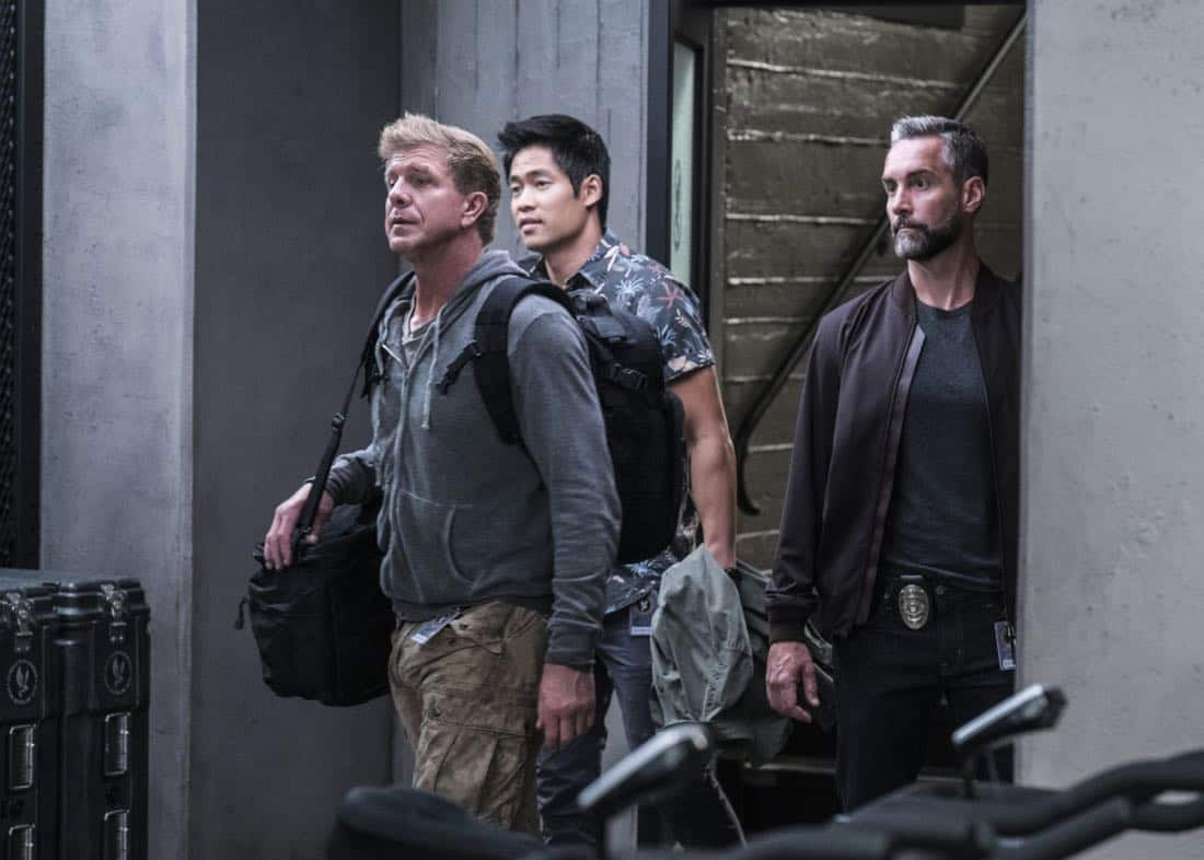 """Pamilya"" – Newcomer Jim Street jeopardizes his spot on Hondo's team when he agrees to do a favor for his incarcerated mother that endangers his SWAT career. Also, the SWAT team searches for the ruthless mastermind behind a drug trafficking ring that forces immigrants to be mules, on S.W.A.T., Thursday, Nov. 16 (10:00-11:00, ET/PT) on the CBS Television Network.  Sherilyn Fenn guest stars as Karen Street, Jim Street's mother.  Pictured left to right: Kenny Johnson and Dominique Luca, David Lim as Victor Tan, and Jay Harrington as David ""Deacon"" Kay.  Photo: Monty Brinton/CBS ©2017 CBS Broadcasting, Inc. All Rights Reserved"