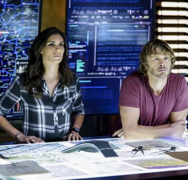 """""""This Is What We Do"""" -- Pictured: Daniela Ruah (Special Agent Kensi Blye) and Eric Christian Olsen (LAPD Liaison Marty Deeks). The NCIS team must locate a group of unknown assailants who illegally crossed the border and attacked California Highway Patrol officers. Also, Homeland Security sends over Specialist Sydney Jones (Ashley Spiller), Nell's older and bossy sister, to assist NCIS with the case, on the 200th episode of NCIS: LOS ANGELES, Sunday, Nov. 19 (9:30-10:30 PM, ET/ 9:00-10:00 PM, PT) on the CBS Television Network. Guest stars include John M. Jackson as Admiral A.J. Chegwidden and Pamela Reed as Roberta Deeks, Deeks' mother. Photo: Sonja Flemming/CBS ©2017 CBS Broadcasting, Inc. All Rights Reserved."""