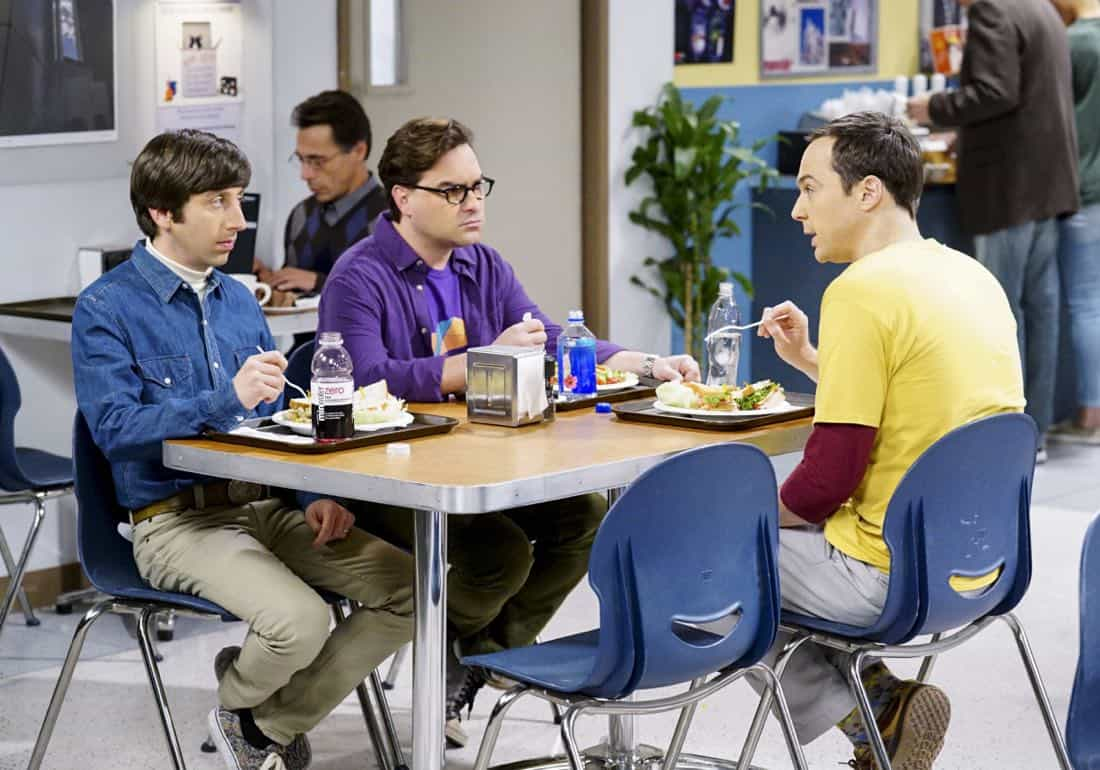 """The Confidence Erosion"" -- Pictured: Howard Wolowitz (Simon Helberg), Leonard Hofstadter (Johnny Galecki) and Sheldon Cooper (Jim Parsons). Sheldon and Amy try to eliminate stress from wedding planning by applying math to the process. Also, Koothrappali ""breaks up"" with Wolowitz after realizing his best friend is actually hurting his confidence, on THE BIG BANG THEORY, Thursday, Dec. 7 (8:00-8:31 PM, ET/PT) on the CBS Television Network. Photo: Monty Brinton/CBS ©2017 CBS Broadcasting, Inc. All Rights Reserved."