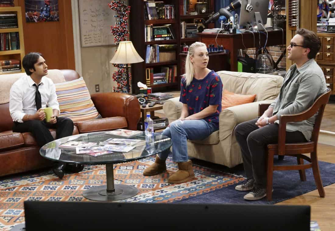 """The Confidence Erosion"" -- Pictured: Rajesh Koothrappali (Kunal Nayyar), Penny (Kaley Cuoco) and Leonard Hofstadter (Johnny Galecki). Sheldon and Amy try to eliminate stress from wedding planning by applying math to the process. Also, Koothrappali ""breaks up"" with Wolowitz after realizing his best friend is actually hurting his confidence, on THE BIG BANG THEORY, Thursday, Dec. 7 (8:00-8:31 PM, ET/PT) on the CBS Television Network. Photo: Monty Brinton/CBS ©2017 CBS Broadcasting, Inc. All Rights Reserved."