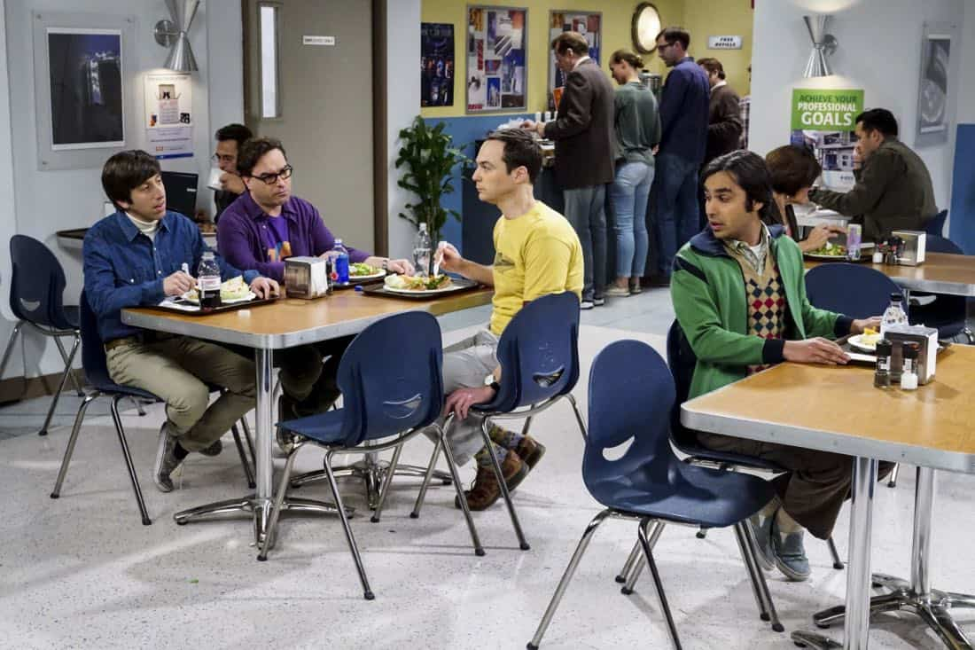 """The Confidence Erosion"" -- Pictured: Howard Wolowitz (Simon Helberg), Leonard Hofstadter (Johnny Galecki), Sheldon Cooper (Jim Parsons) and Rajesh Koothrappali (Kunal Nayyar). Sheldon and Amy try to eliminate stress from wedding planning by applying math to the process. Also, Koothrappali ""breaks up"" with Wolowitz after realizing his best friend is actually hurting his confidence, on THE BIG BANG THEORY, Thursday, Dec. 7 (8:00-8:31 PM, ET/PT) on the CBS Television Network. Photo: Monty Brinton/CBS ©2017 CBS Broadcasting, Inc. All Rights Reserved."