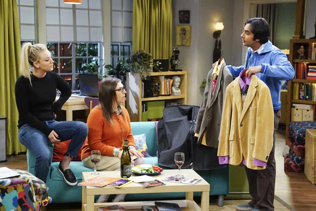"""The Confidence Erosion"" -- Pictured: Penny (Kaley Cuoco), Amy Farrah Fowler (Mayim Bialik) and Rajesh Koothrappali (Kunal Nayyar). Sheldon and Amy try to eliminate stress from wedding planning by applying math to the process. Also, Koothrappali ""breaks up"" with Wolowitz after realizing his best friend is actually hurting his confidence, on THE BIG BANG THEORY, Thursday, Dec. 7 (8:00-8:31 PM, ET/PT) on the CBS Television Network. Photo: Monty Brinton/CBS ©2017 CBS Broadcasting, Inc. All Rights Reserved."