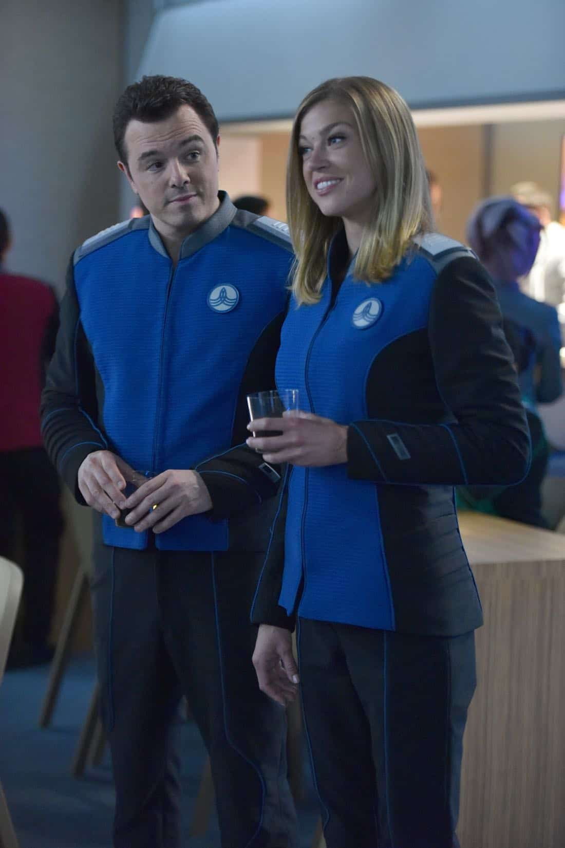 "THE ORVILLE:  L-R:  Seth MacFarlane and Adrianne Palicki in the ""New Dimensions"" episode of THE ORVILLE airing Thursday, Nov. 30 (9:01-10:00 PM ET/PT) on FOX.  ©2017 Fox Broadcasting Co.  Cr:  Michael Becker/FOX"