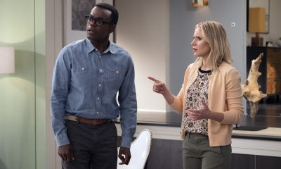 "THE GOOD PLACE -- ""Leap Into Faith"" Episode 209 -- Pictured: (l-r) William Jackson Harper as Chidi, Kristen Bell as Eleanor -- (Photo by: Colleen Hayes/NBC)"