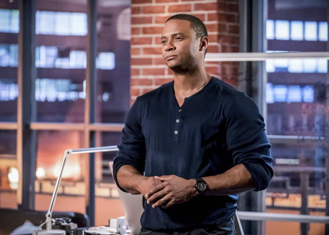"Arrow -- ""Divided"" -- Image Number: AR610b_0216.jpg -- Pictured: David Ramsey as John Diggle/Spartan -- Photo: Daniel Power/The CW -- © 2018 The CW Network, LLC. All Rights Reserved."